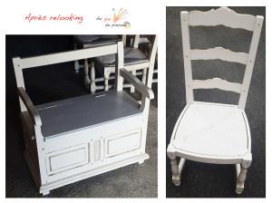 Coffre de rangement et chaises relookés couleur lin