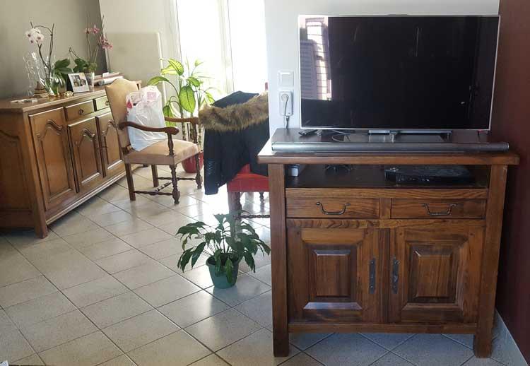 Meuble TV en Orme avant relooking
