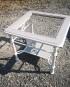 Table de salon merisier et fer forgé bicolore